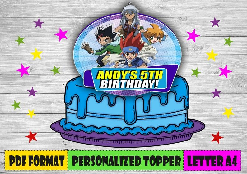 Digital Beyblade cake topper Personalized Beyblade birthday | Etsy