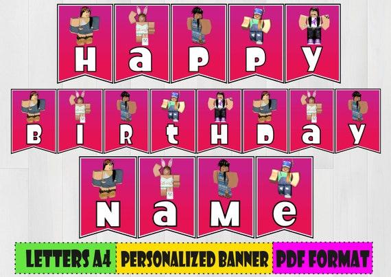Girl Stuff Roblox Digital Roblox Girls Personalized Birthday Banner Etsy