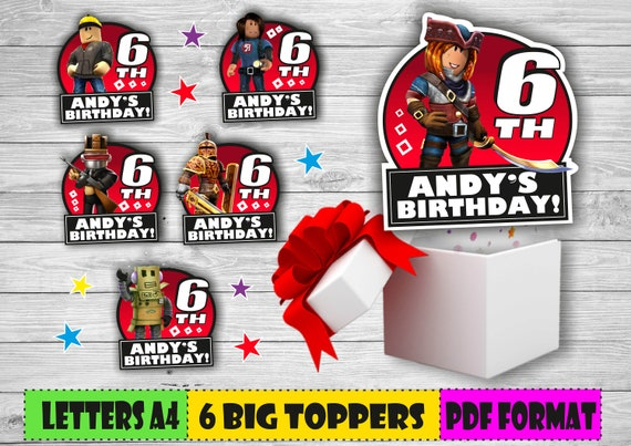 Digital Roblox Big Personalized Toppers Printable Roblox Etsy