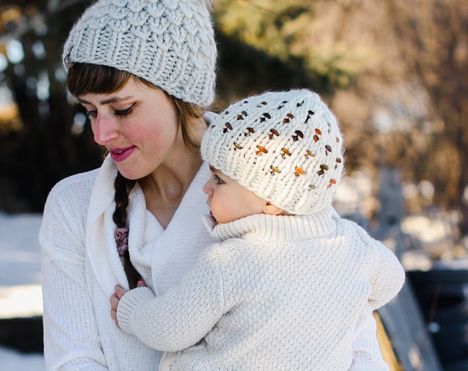 Baby Size Merino Wool Polka Dot Knit Hat with Faux Fur Pom Pom   Luxury Knit Merino Wool Baby Wool Hat   White and Brown Baby Knit Hat