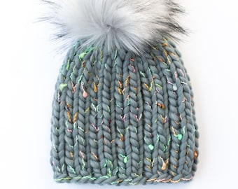 Toddler Size Confetti Wool Chunky Knit Hat with Faux Fur Pom Pom | Toddler Luxury Chunky Knit Wool Winter Hat | The Loppet Beanie