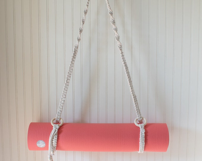 Macrame Yoga Mat Strap with Wooden Bead Tassels and Rings