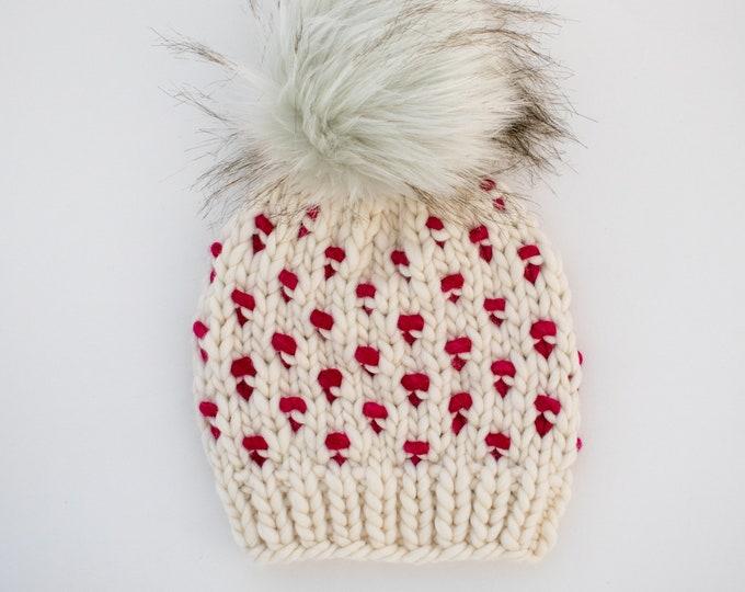 Baby Size Merino Wool Polka Dot Knit Hat with Faux Fur Pom Pom   Luxury Knit Merino Wool Baby Wool Hat   White and Fuscia Baby Knit Hat