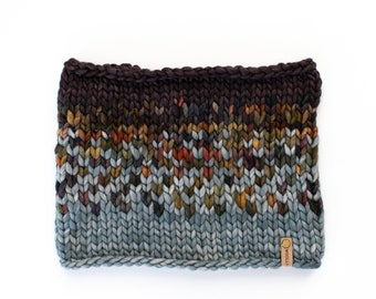 Gray and Multi Color Merino Wool Fair Isle Knit Cowl | Women's Chunky Knit Cowl | Sunrise Cowl