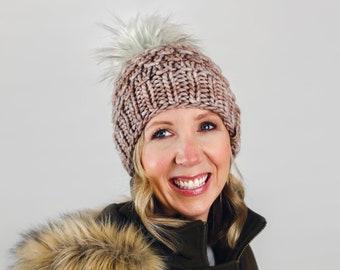 Pearl Gray Merino Wool Knit Hat with Faux Fur Pom Pom | Women's Luxury Chunky Knit Pom Pom Beanie | Ethically Sourced Wool Hand Knit Hat