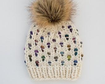 Baby Size Merino Wool Polka Dot Knit Hat with Faux Fur Pom Pom | Luxury Knit Merino Wool Baby Wool Hat | White and Rainbow Baby Knit Hat