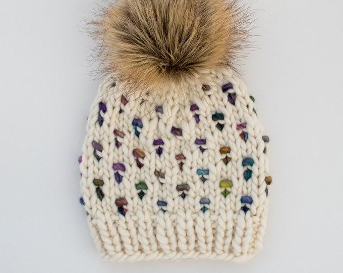 Baby Size Merino Wool Polka Dot Knit Hat with Faux Fur Pom Pom   Luxury Knit Merino Wool Baby Wool Hat   White and Rainbow Baby Knit Hat