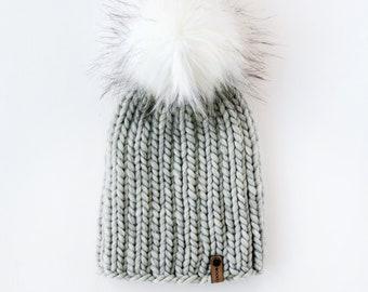 Light Gray Peruvian Wool Knit Hat with Faux Fur Pom Pom   Women's Chunky Knit Pom Pom Beanie   Ethically Sourced Wool Hat   Hand Knit Hat