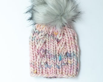 Baby Size Unicorn Pink Peruvian Wool Knit Hat with Faux Fur Pom Pom   Baby Chunky Knit Pom Pom Beanie   Ethically Sourced Wool Hat
