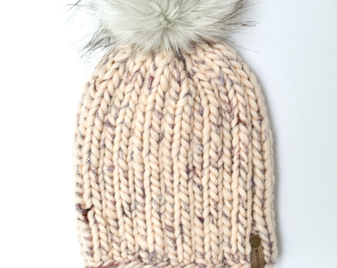 Confetti Merino Wool Chunky Knit Hat with Faux Fur Pom Pom | Women's Luxury Chunky Knit Merino Wool Winter Hat | The Loppet Beanie