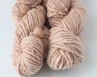 Pink Chunky Single Ply Naturally Dyed Merino Wool Yarn, Pink Hand-Dyed Super Bulky Yarn, Super Bulky Yarn