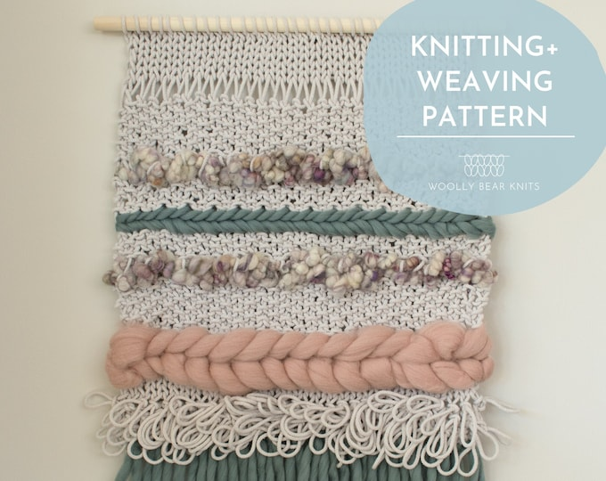 KNITTING + WEAVING PATTERN: Iona Wall Hanging | Easy Boho Knit and Woven Wall Hanging Pattern | Home Decor Knitting Pattern Weaving Pattern