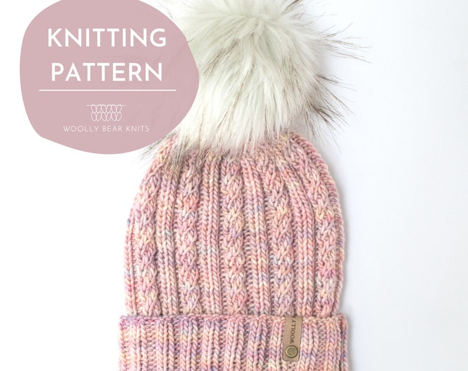 KNITTING PATTERN: Seaspray Beanie | Cable Knit Hat Pattern | Easy Worsted Weight Yarn Hat Knitting Pattern
