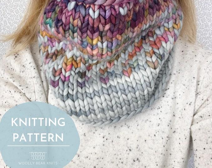 KNITTING PATTERN: Sunrise Cowl | Easy Fair Isle Knit Cowl Pattern | Super Bulky Yarn Scrap Yarn Pattern