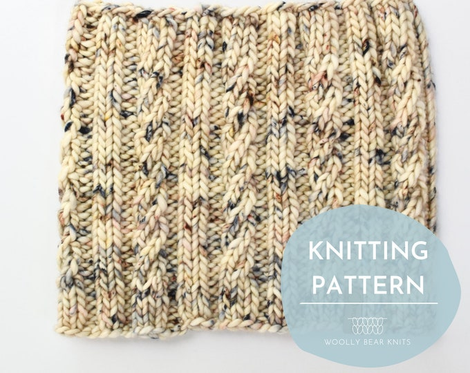 KNITTING PATTERN: Spindrift Cowl | Cable Knit Cowl Pattern | Easy Super Bulky and Bulky Yarn Knitting Pattern