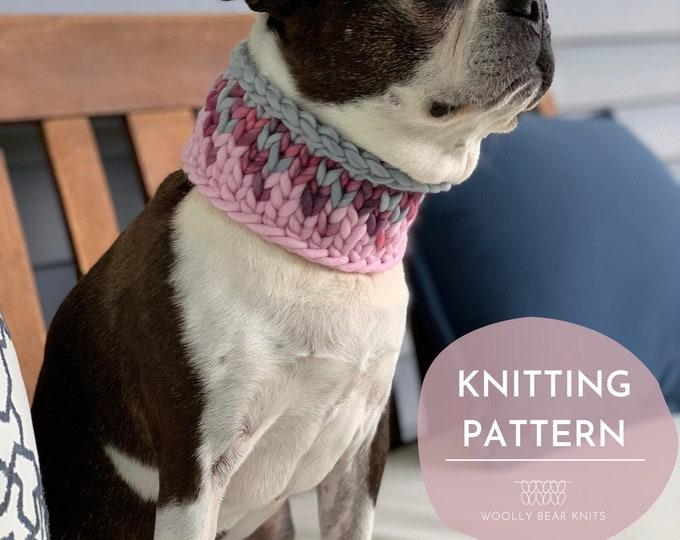 KNITTING PATTERN: Sunrise Pet Cowl | Easy Fair Isle Knit Cowl Pattern | Super Bulky Yarn Scrap Yarn Pattern