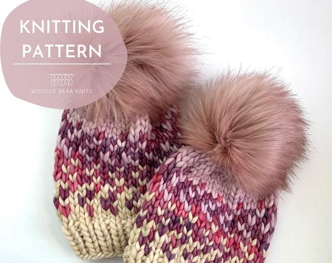 KNITTING PATTERN: Sunrise Hat in 5 Sizes | Easy Fair Isle Knit Hat Pattern | Super Bulky Yarn Scrap Yarn Pattern