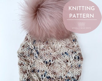 KNITTING PATTERN: Honeysuckle Hat | Cable Knit Hat Pattern | Super Bulky and Bulky Yarn Knitting Pattern