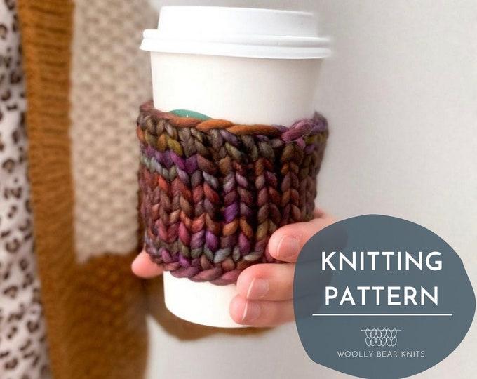 KNITTING PATTERN: Scrap Yarn Coffee Cozy Pattern | Knit Coffee Sleeve Pattern