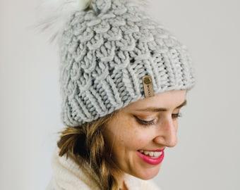 Light Gray Peruvian Wool Knit Hat with Faux Fur Pom Pom | Women's Chunky Knit Pom Pom Beanie | Ethically Sourced Wool Hat | Hand Knit Hat
