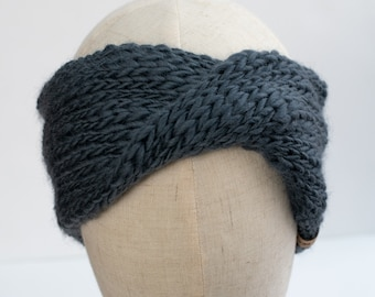Gray Textured Wool Knit Headband | Knit Earwarmer | Twisted Knit Turban Headband | Ethically Sourced Wool Hand Knit Headband