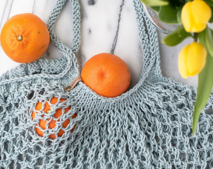 Hand Knit Cotton Mesh Market Bag | Reusable Shopping Bag | Knit Market Tote Bag | Knit Beach Bag | Mesh Tote Bag | Beach Bag