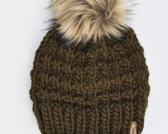Olive Green Peruvian Wool Knit Hat with Faux Fur Pom Pom   Women's Chunky Knit Pom Pom Beanie   Ethically Sourced Wool Hat   Hand Knit Hat