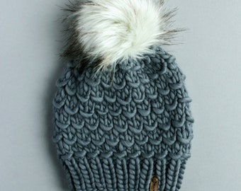 Blue Gray Peruvian Wool Knit Hat with Faux Fur Pom Pom, Women's Chunky Knit Pom Pom Beanie, Ethically Sourced Wool Hat, Hand Knit Hat