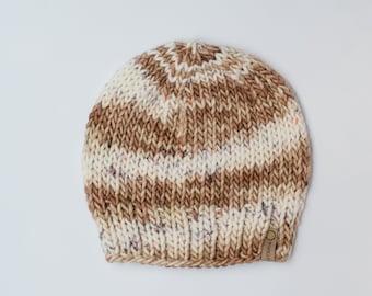 Brown and White Merino Wool Knit Hat with Faux Fur Pom Pom | Luxury Knit Merino Wool Beanie