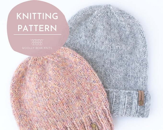 KNITTING PATTERN: Birchwood Beanie | Easy Knit Hat Pattern | Easy Worsted/Aran Weight Yarn Hat Knitting Pattern