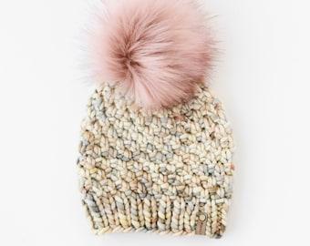 Beige Speckle Merino Wool Knit Hat with Faux Fur Pom Pom | Women's Luxury Chunky Knit Pom Pom Beanie | Hand Dyed Merino Wool Hat