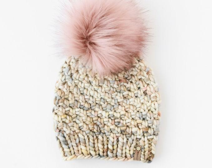 Beige Speckle Merino Wool Knit Hat with Faux Fur Pom Pom, Women's Luxury Chunky Knit Pom Pom Beanie, Hand Dyed Merino Wool Hand Knit Hat