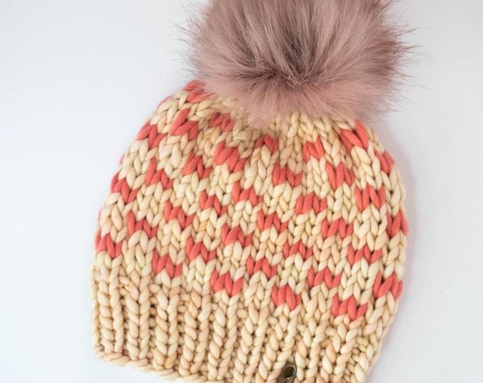 Ivory and Coral Merino Wool Knit Hat with Faux Fur Pom Pom | Women's Luxury Chunky Knit Pom Pom Beanie | Hand Knit Hat