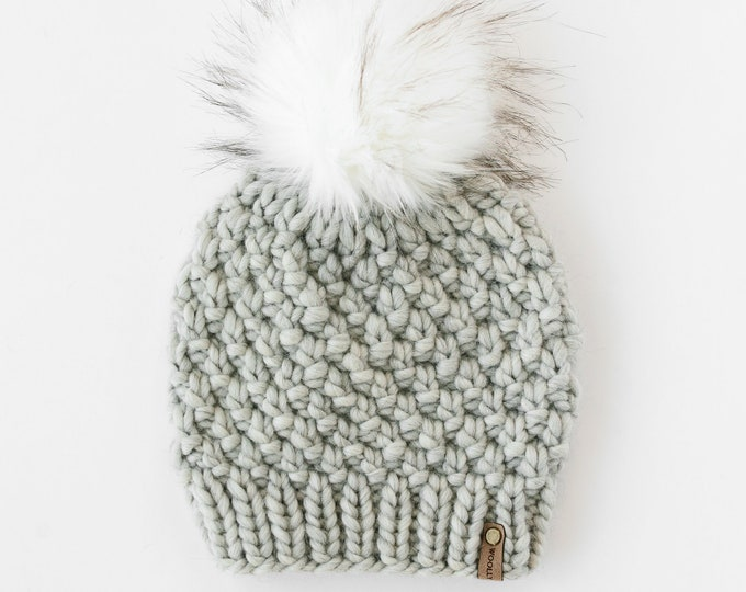 Light Gray Peruvian Wool Knit Hat with Faux Fur Pom Pom | Women's Chunky Knit Pom Pom Beanie | Ethically Sourced Wool Hat | Hand Knit Hat