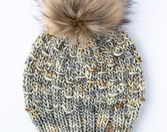 Green Gray Merino Wool Knit Hat with Faux Fur Pom Pom | Luxury Knit Merino Wool Beanie