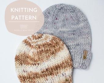 KNITTING PATTERN: Bulky Birchwood Beanie | Easy Knit Hat Pattern | Easy Bulky Weight Yarn Hat Knitting Pattern