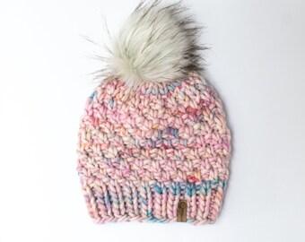 Unicorn Pink Peruvian Wool Knit Hat with Faux Fur Pom Pom, Women's Chunky Knit Pom Pom Beanie, Ethically Sourced Wool Hat, Hand Knit Hat