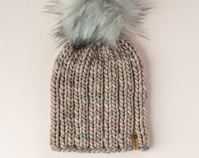 Pearl Gray Merino Wool Knit Hat with Faux Fur Pom Pom, Women's Chunky Knit Pom Pom Beanie, Ethically Sourced Wool Hat, Hand Knit Hat