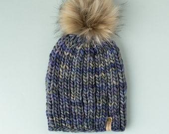 Blue Gray Multicolor Merino Wool Knit Hat with Faux Fur Pom Pom, Women's Luxury Chunky Knit Pom Pom Beanie, Ethically Sourced Wool Hat