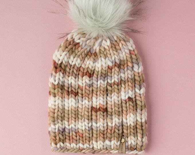Brown Speckled Merino Wool Knit Hat with Faux Fur Pom Pom, Women's Luxury Chunky Knit Pom Pom Beanie, Hand-Dyed Merino Wool Hand Knit Hat