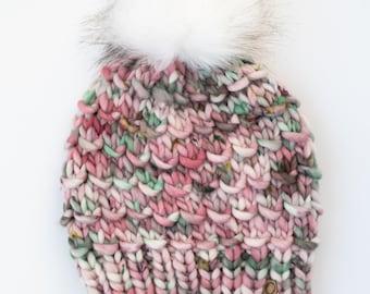 Pink Merino Wool Knit Hat with Faux Fur Pom Pom   Women's Luxury Chunky Knit Pom Pom Beanie   Hand Dyed Merino Wool Hat   Hand Knit Hat