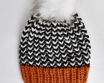 Go Bears Team Color Knit Hat with Faux Fur Pom Pom | White Bear Lake Bears Knit Hat | Black and Orange Knit Beanie