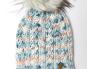Blue and Pink Speckle Merino Wool Knit Hat with Faux Fur Pom Pom | Spindrift Beanie with Hand-Dyed Yarn | Luxury Knit Merino Wool Beanie