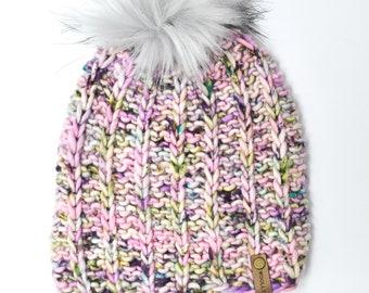 Pink Speckle Merino Wool Knit Hat with Faux Fur Pom Pom | Hand-Dyed Yarn | Luxury Knit Merino Wool Beanie