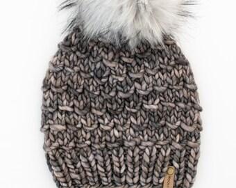 Merino Wool Chunky Knit Hat with Faux Fur Pom Pom | Dark Gray Women's Luxury Chunky Knit Merino Wool Hat