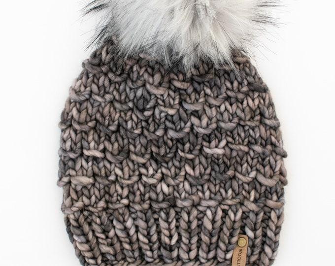 Merino Wool Chunky Knit Hat with Faux Fur Pom Pom   Dark Gray Women's Luxury Chunky Knit Merino Wool Hat