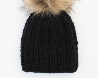 Toddler Size Merino Wool Black Knit Hat with Faux Fur Pom Pom | Luxury Knit Merino Wool Toddler Hat