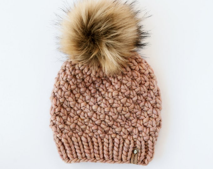 Blush Pink Peruvian Wool Knit Hat with Faux Fur Pom Pom | Women's Chunky Knit Pom Pom Beanie | Ethically Sourced Wool Hat | Hand Knit Hat