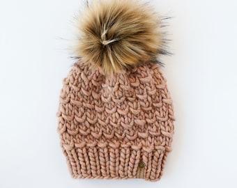 Blush Pink Peruvian Wool Knit Hat with Faux Fur Pom Pom | Women's Chunky Knit Pom Pom Beanie | Ethically Sourced Wool Hat | Hand Knit Hat