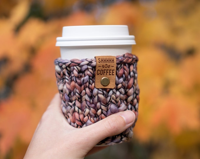 Knit Coffee Sleeve | Reusable Coffee Sleeve | Gift for Coffee Lovers | Stocking Stuffer Coffee Gift | Small Teacher Gift | Gift Card Holder